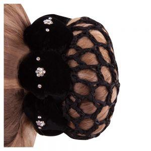 Samtband mit Haarnetz m. Strassblümchen